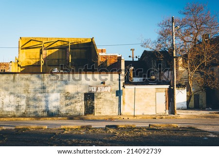 Abandoned buildings near Old Town Mall, in Baltimore, Maryland. - stock photo