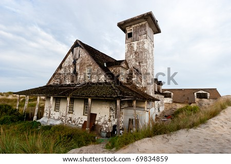 Abandoned buildings on the Atlantic coast. - stock photo