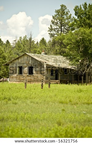 Abandoned cabin in a high-country meadow in Arizona's White  Mountains of the Apache-Sitgreaves National Forest.