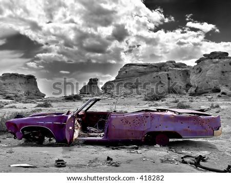 abandoned car - stock photo