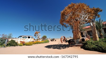 Abandoned car in Namibia - stock photo