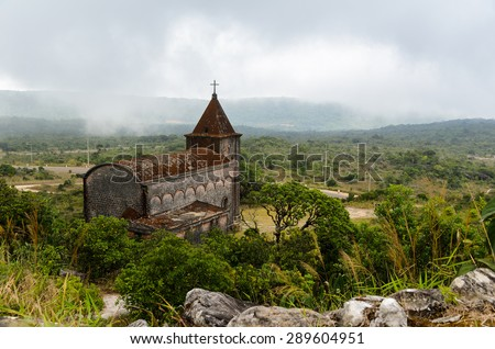 Abandoned christian church on top of Bokor mountain in Preah Monivong national park, Kampot, Cambodia