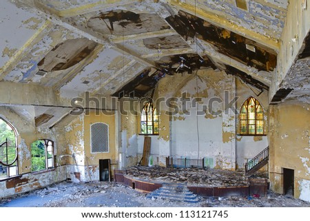 Abandoned church interior in Detroit Michigan. - stock photo