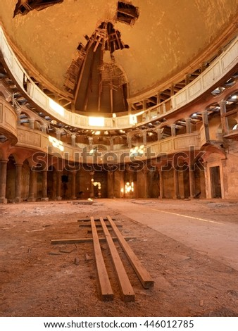 Abandoned church . Sunlight from the window of an abandoned temple under the dome - stock photo
