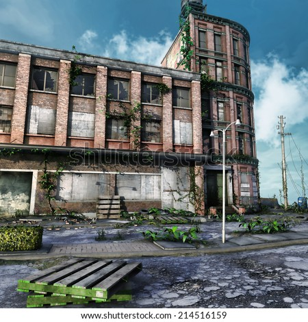 Abandoned city square with ruined buildings and ivy - stock photo