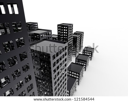 Abandoned City Sustainable City on a white background