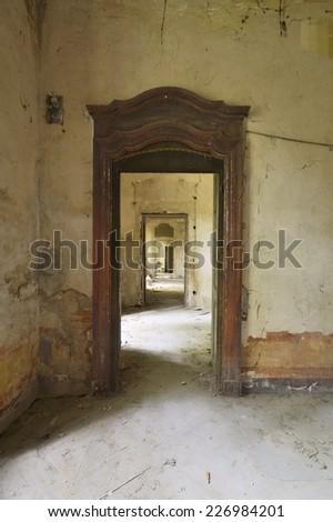 abandoned corridor - stock photo