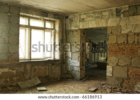 abandoned dark room - stock photo
