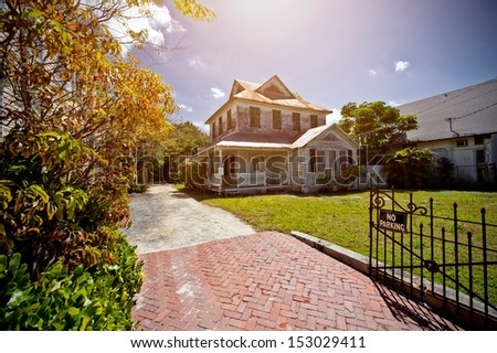 abandoned dream home - no parking - stock photo
