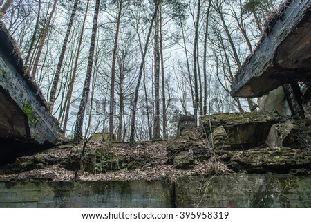 abandoned electro station building in early spring in latvia - stock photo