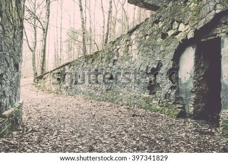 abandoned electro station building in early spring in latvia - vintage film effect - stock photo