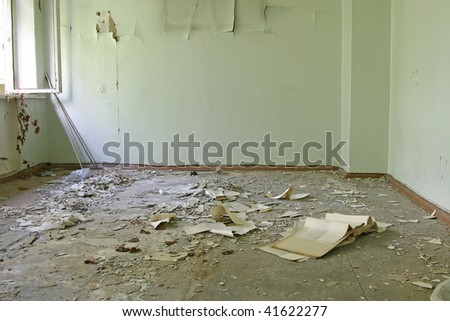 abandoned empty room - stock photo