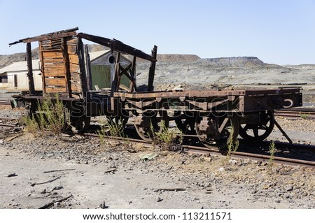 Abandoned facilities freight cars. Old trains wagon in mines Tharsis - Former mine in Spain - stock photo