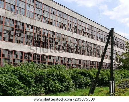 Abandoned factory building, economic depressions in west europe - stock photo