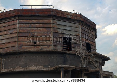 Abandoned factory - coal silo building - stock photo