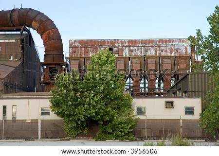 Abandoned Factory - Copper smelter in the midwest USA. - stock photo