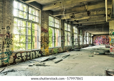 abandoned factory hdr - stock photo