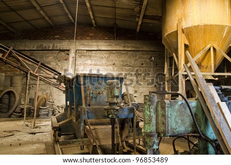 Abandoned factory interior - stock photo