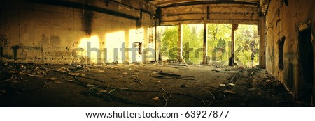 Abandoned factory panorama - stock photo