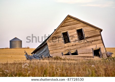 Abandoned Farmhouse at sunset Saskatchewan Canada - stock photo