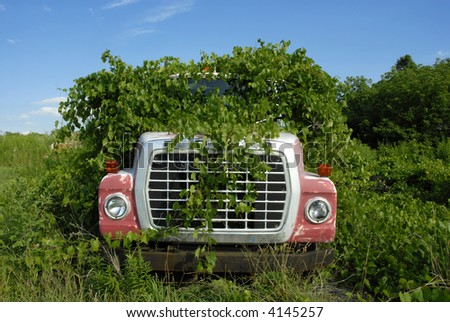 Abandoned flatbed truck overgrown with weeds - stock photo