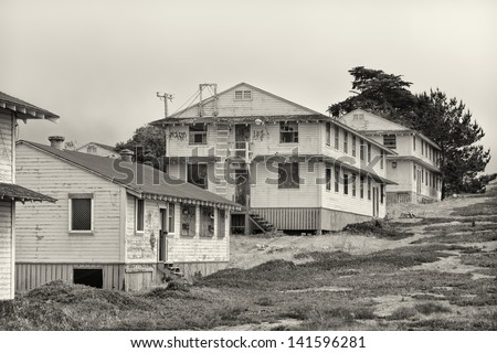 Abandoned Fort Ord Army Post in Black and White.