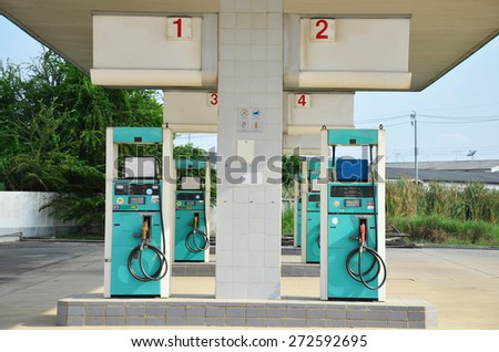 Abandoned gas pump Station because economy recession  in Nonthaburi Thailand - stock photo