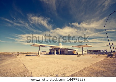 Abandoned Gas Station along the Route 66 - stock photo