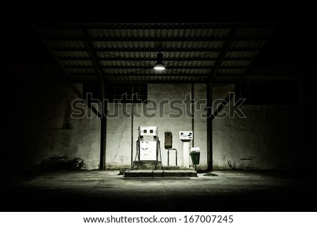 Abandoned gas station in a small town in Albacete (Spain) - stock photo