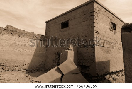 Abandoned ghost city Al Jazirah Al Hamra. Ras al-Khaimah. The oldest town in United Arab Emirates. Arabian peninsula