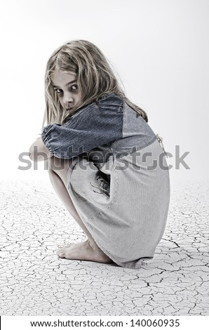 abandoned girl - stock photo