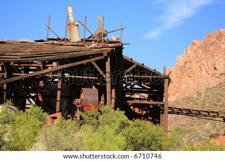 Abandoned gold mine milling machine in Arizona - stock photo
