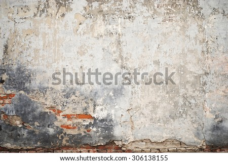 abandoned grunge cracked brick stucco wall background - stock photo