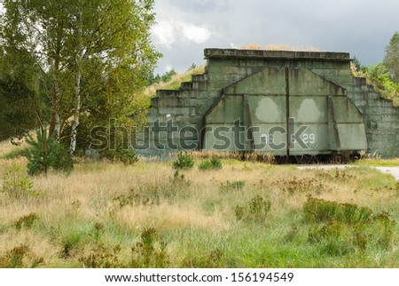 Abandoned Hangar at Military Airfield - stock photo