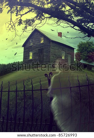 Abandoned haunted house on a hillside - stock photo