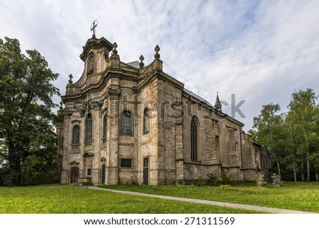 Abandoned historic Gothic church in the Czech Republic - stock photo
