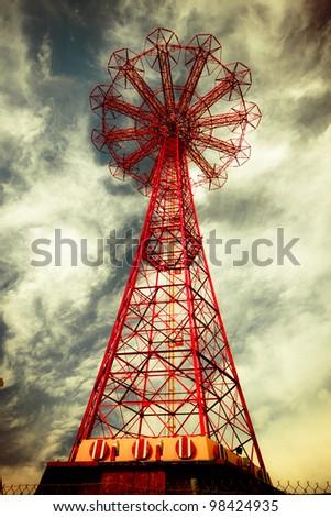 Abandoned historic landmark, Parachute jump, from Brooklyn's Coney Island. - stock photo