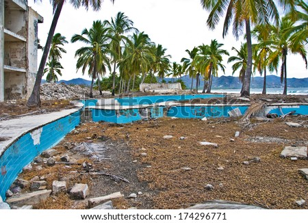 Abandoned hotel pool. - stock photo