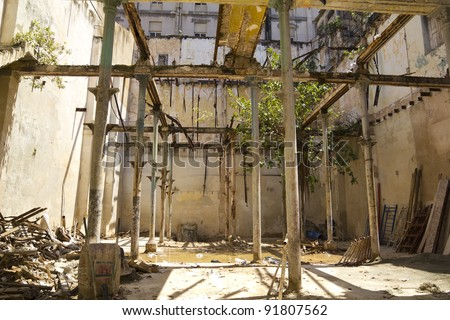 Abandoned house and destroyed in Old Havana. Cuba - stock photo