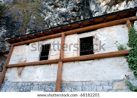 abandoned house built for the Austrian outpost in World War I - stock photo