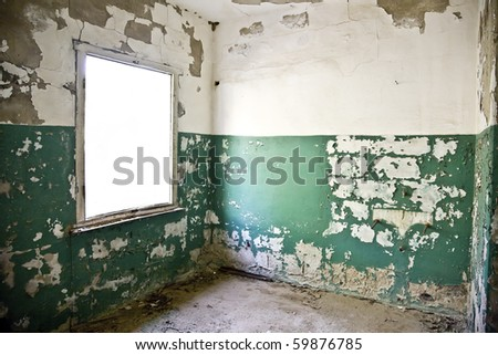 abandoned house in ruin - stock photo