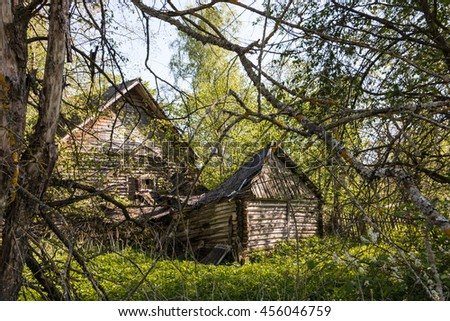 Abandoned house in the old Russian village, Russia