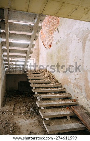 Abandoned House Interior In Chernobyl Resettlement Zone. Chornobyl Disasters - stock photo