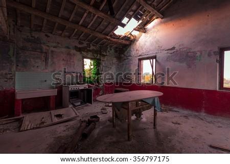 abandoned house, kitchen. - stock photo