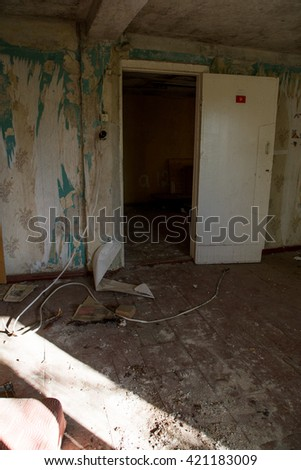 abandoned house ruined, building, mess, interior - stock photo