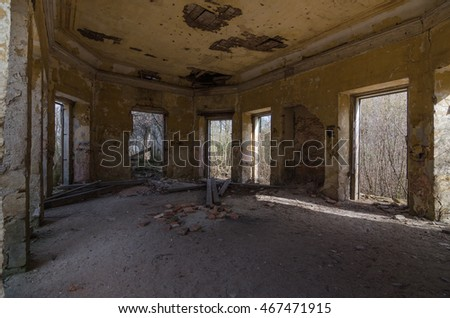 abandoned hunting lodge in the forest Inside view