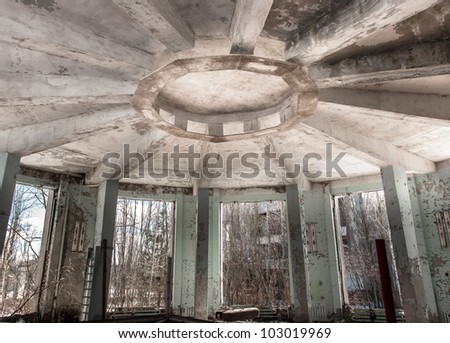 Abandoned industrial architecture in Chernobyl - stock photo