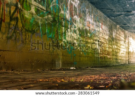Abandoned Industrial building interior. Old tunnel. - stock photo