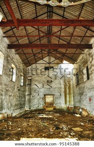 Abandoned industrial factory. Ruins of a very heavily polluted industrial factory, the place was known as one of the polluted place area mining  in Andalusia - stock photo