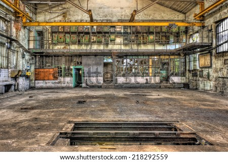 Abandoned industrial garage, HDR - stock photo